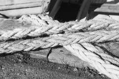 Nautical ropes for mooring operations, closeup Royalty Free Stock Photo