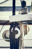 Nautical ropes on sailboat Stock Photo