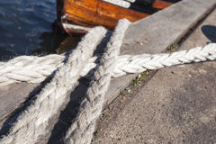 Nautical ropes used for mooring operations Royalty Free Stock Photo