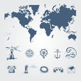 Nautical and sailor icons Royalty Free Stock Photos