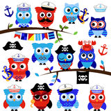 Nautical, Sailor and Pirate Themed Vector Owls Stock Images