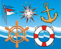 Nautical Sampler. A collection of nautical themed objects Royalty Free Stock Image