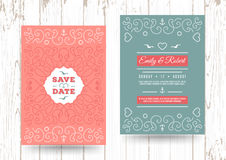Nautical save the date cards Marine vector Wedding invitation Royalty Free Stock Photography