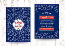 Nautical save the date cards Marine vector Wedding invitation. Wedding invitation card template, Marine vector, Nautical save the date cards, Elegant frame of Royalty Free Stock Photo