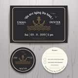 Nautical sea anchor wedding invitation and RSVP card template set Royalty Free Stock Photography