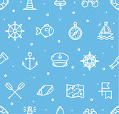 Nautical Sea Background Pattern. Vector Stock Image