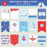 Nautical Sea Card Set Royalty Free Stock Photos