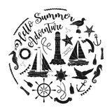 Nautical  sea composition. With ships and wheel.  Hand drawn elements for summer holidays. Travel, marin and ocean. Vector Illustration Stock Photos