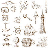 Nautical Sea Design Elements royalty free illustration