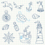 Nautical Sea Design Elements Royalty Free Stock Image