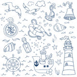 Nautical Sea Design Elements Royalty Free Stock Photos