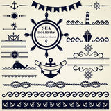 Nautical and sea design elements. Vector set. Collection of various nautical elements for design and page decoration. Vector illustration Stock Photo