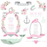 Nautical Sea Floral Wedding Elements. A vector illustration of Nautical Sea Floral Wedding Elements. Perfect for Nautical theme, Wedding, Valentine`s day Royalty Free Stock Photography