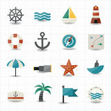 Nautical and sea icons Royalty Free Stock Photos