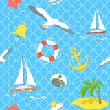 Nautical Sea Icons seamless pattern Royalty Free Stock Photography