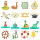 Nautical sea icons set, cartoon style Royalty Free Stock Images