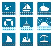 Nautical and Sea Icons Set Royalty Free Stock Photos
