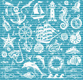 Nautical and sea icons set Stock Photography