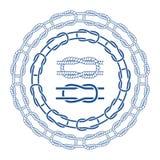 Nautical sea rope knots bordes brushes set. Vector illustration stock illustration