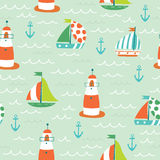 Nautical sea seamless pattern. With boats, anchors and lighthouse Royalty Free Stock Images