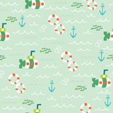 Nautical sea seamless pattern. With lifebuoy, submarine, anchor and fish Stock Photos