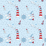 Nautical Sea Seamless Pattern Stock Photos