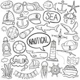 Nautical Sea Sport Traditional Doodle Icons Sketch Hand Made Design Vector. A emblematic elements and Tools Traditional Doodle Style Hand Drawn elements and Royalty Free Stock Photos