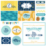 Nautical Sea Theme Set - for Party Decoration Royalty Free Stock Images