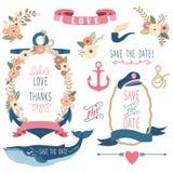 Nautical Sea Wedding Elements Stock Photography