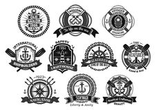 Nautical seafarer, marine sea sailor vector icons. Marine seafarer or sailor vector icons. Heraldic badges set of nautical symbols of ship helm and anchor Stock Photo