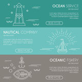 Nautical or seafaring company banner design template with thin lile style illustration Royalty Free Stock Photo