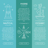 Nautical or seafaring company banner design template, thin line style. Nautical company, ocean service, oceanic fishery - business banner design template with Stock Photography
