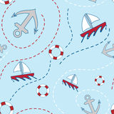Nautical Seamless Pattern Stock Photo
