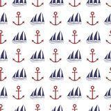 Nautical seamless pattern. With anchor and ship.  Vector illustration Stock Image