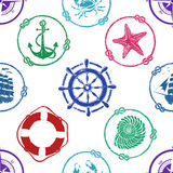 Nautical seamless pattern Royalty Free Stock Photos
