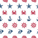 Nautical seamless pattern Stock Photos