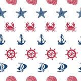 Nautical seamless pattern Stock Photos
