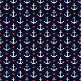 Nautical seamless pattern with anchors and hearts. Stock Photography