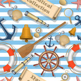 Nautical seamless pattern with background. Nautical seamless pattern with nautical background Royalty Free Stock Images