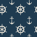 Nautical Seamless Pattern. Nautical seamless background pattern with  white icon set on the marine theme vector illustration Stock Photo