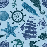 Nautical seamless pattern. Nautical blue hand drawn seamless pattern Royalty Free Stock Photography