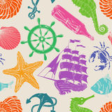 Nautical seamless pattern. Nautical blue hand drawn seamless pattern Stock Photography