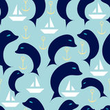 Nautical seamless pattern with dolphins, sailing boats and ancho. Rs.Travel, sea and ocean. Vector Illustration Stock Photography