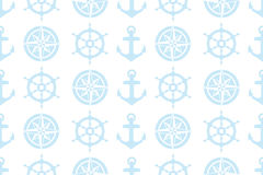 Nautical seamless pattern for fabric. Nautical seamless pattern (steering wheel, compass and anchor) for fabric - eps 10 vectors royalty free illustration