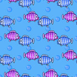 Nautical seamless pattern. Fabulous nautical seamless pattern with a fun fish on a blue background. Vector illustration for children.Kids beautiful Summer print Stock Photography
