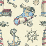 Nautical seamless pattern Royalty Free Stock Image