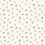 Nautical seamless pattern. Hand drawn vector illustration Royalty Free Stock Photography