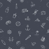 Nautical seamless pattern. Hand drawn vector illustration Royalty Free Stock Images