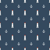 Nautical seamless pattern with lighthouse and anchors icon Stock Photos