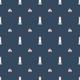 Nautical seamless pattern with lighthouse sailing boat and  yachts icon. Nautical seamless pattern with lighthouse icon on navy blue background. Summer seamless Royalty Free Stock Photos